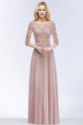 Cheap A-line Floor Length Half Sleeves Appliques Bridesmaid Dress with Sash in Stock_5