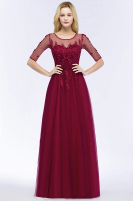 Cheap A-line Floor Length Appliques Tulle Bridesmaid Dress with Sleeves in Stock_3