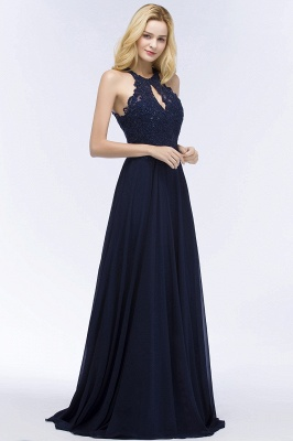 Cheap A-line Keyhole Neckline Halter Long Beading Prom Dress in Stock_9