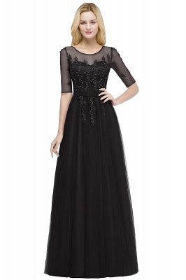 Cheap A-line Floor Length Appliques Tulle Bridesmaid Dress with Sleeves in Stock_4