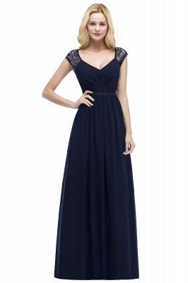 ROSALIA | A-line V-neck Floor Length Lace Chiffon Bridesmaid Dresses with Sash_3