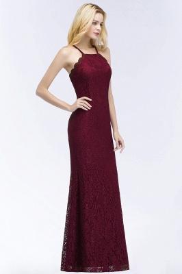 Mermaid Floor Length  Halter Lace Burgundy Bridesmaid Dresses_5