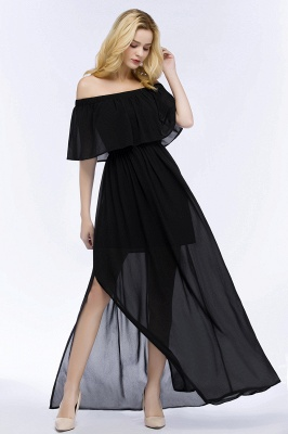 Cheap A-line Off-the-shoulder Floor Length Black Chiffon Bridesmaid Dress in Stock_10