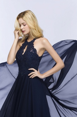 Cheap A-line Keyhole Neckline Halter Long Beading Prom Dress in Stock_8