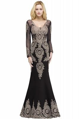 Mermaid V-neck Floor Length Long Sleeves Appliques Prom Dresses_2