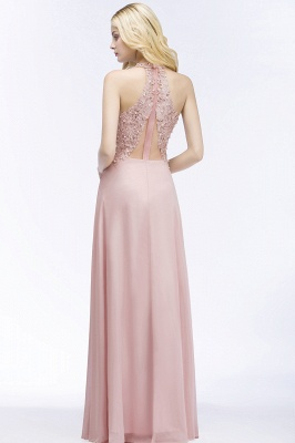 Cheap A-line V-neck Sleeveless Long Appliques Chiffon Bridesmaid Dress in Stock_6