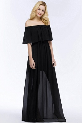 Cheap A-line Off-the-shoulder Floor Length Black Chiffon Bridesmaid Dress in Stock_8
