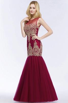 Mermaid Sleeveless Sheer Neckline Appliqued Burgundy Tulle Prom Dresses_5
