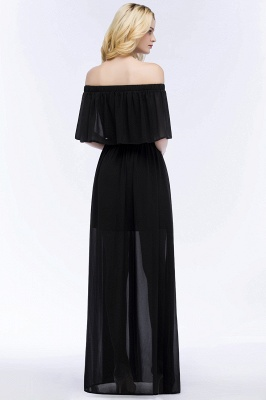 Cheap A-line Off-the-shoulder Floor Length Black Chiffon Bridesmaid Dress in Stock_6