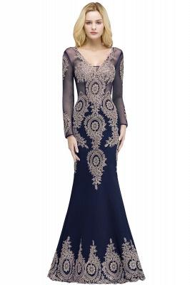 Mermaid V-neck Floor Length Long Sleeves Appliques Prom Dresses_1