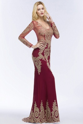 Mermaid V-neck Floor Length Long Sleeves Appliques Prom Dresses_7