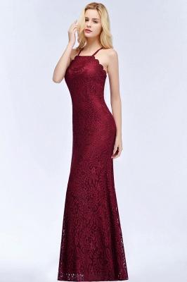 Mermaid Floor Length  Halter Lace Burgundy Bridesmaid Dresses_7