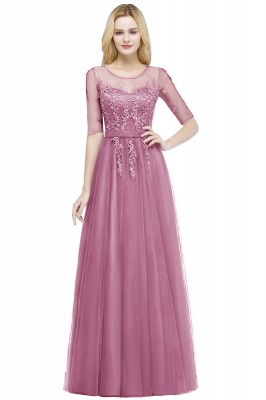 Cheap A-line Floor Length Appliques Tulle Bridesmaid Dress with Sleeves in Stock_2