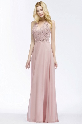 Cheap A-line V-neck Sleeveless Long Appliques Chiffon Bridesmaid Dress in Stock_7
