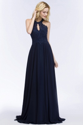 Cheap A-line Keyhole Neckline Halter Long Beading Prom Dress in Stock_6