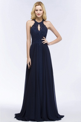 Cheap A-line Keyhole Neckline Halter Long Beading Prom Dress in Stock_10