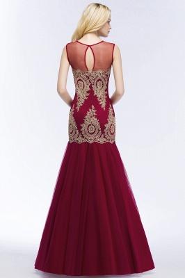 Mermaid Sleeveless Sheer Neckline Appliqued Burgundy Tulle Prom Dresses_4