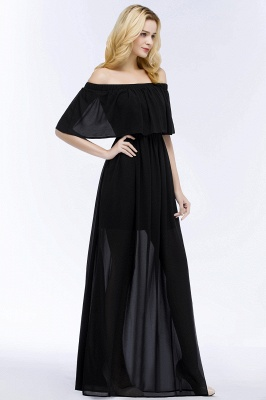 Cheap A-line Off-the-shoulder Floor Length Black Chiffon Bridesmaid Dress in Stock_7