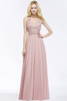 Cheap A-line V-neck Sleeveless Long Appliques Chiffon Bridesmaid Dress in Stock_10