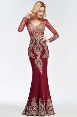 Mermaid V-neck Floor Length Long Sleeves Appliques Prom Dresses_6