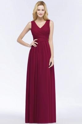 A-line  V-Neck Sleeveless Ruffles Floor-length Bridesmaid Dress_1