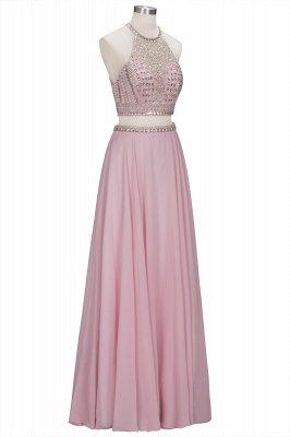 Floor-length Pink Crystals Delicate Two-piece A-line Evening Dress_1