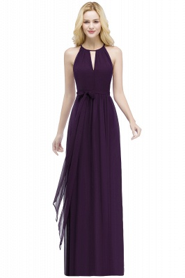 A-line Halter Floor Length Burgundy Bridesmaid Dress with Bow Sash_2