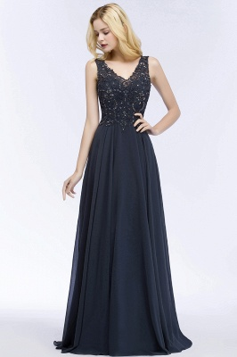 Cheap A-line V-neck Sleeveless Long Appliqued Chiffon Prom Dress with Crystals in Stock_8