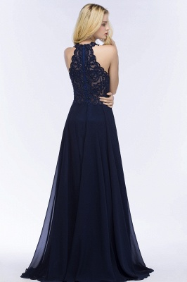 Cheap A-line Keyhole Neckline Halter Long Beading Prom Dress in Stock_5