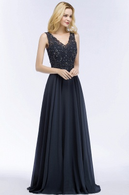 Cheap A-line V-neck Sleeveless Long Appliqued Chiffon Prom Dress with Crystals in Stock_5