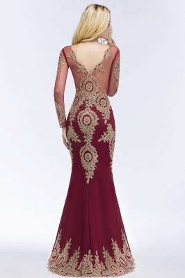 Mermaid V-neck Floor Length Long Sleeves Appliques Prom Dresses_4