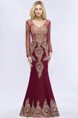 Mermaid V-neck Floor Length Long Sleeves Appliques Prom Dresses_8