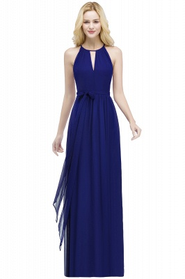 A-line Halter Floor Length Burgundy Bridesmaid Dress with Bow Sash_4