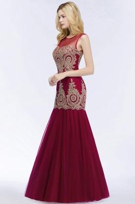 Mermaid Sleeveless Sheer Neckline Appliqued Burgundy Tulle Prom Dresses_6