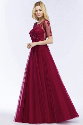 Cheap A-line Floor Length Appliques Tulle Bridesmaid Dress with Sleeves in Stock_10