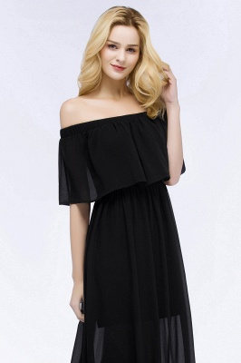 Cheap A-line Off-the-shoulder Floor Length Black Chiffon Bridesmaid Dress in Stock_9