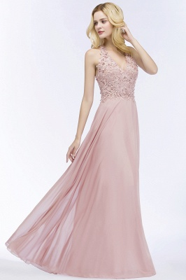 Cheap A-line V-neck Sleeveless Long Appliques Chiffon Bridesmaid Dress in Stock_12