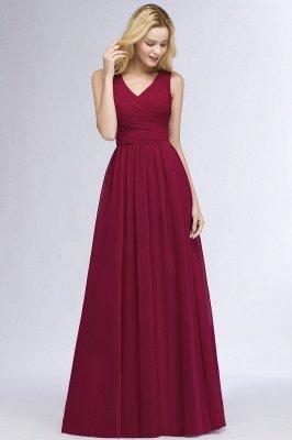 A-line Floor Length V-neck Sleeveless Ruffled Chiffon Bridesmaid Dresses_8