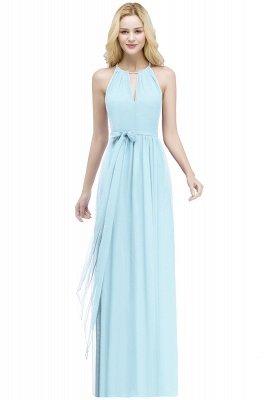 A-line Halter Floor Length Burgundy Bridesmaid Dress with Bow Sash_3