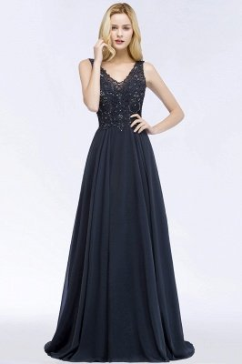 A-line  Appliques V-neck Sleeveless Floor-Length Bridesmaid Dresses with Crystals_1