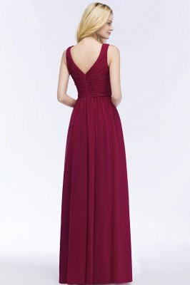 A-line Floor Length V-neck Sleeveless Ruffled Chiffon Bridesmaid Dresses_3