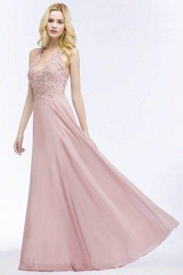 PAM | A-line V-neck Sleeveless Long Appliques Chiffon Bridesmaid Dresses_7