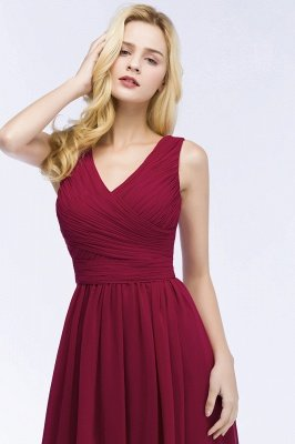 A-line Floor Length V-neck Sleeveless Ruffled Chiffon Bridesmaid Dresses_5