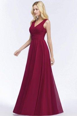 A-line Floor Length V-neck Sleeveless Ruffled Chiffon Bridesmaid Dresses_7
