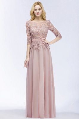 Cheap A-line Floor Length Half Sleeves Appliques Bridesmaid Dress with Sash in Stock_2