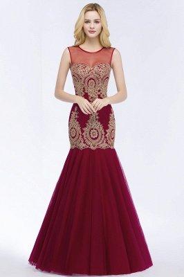 Mermaid Sleeveless Sheer Neckline Appliqued Burgundy Tulle Prom Dresses_1