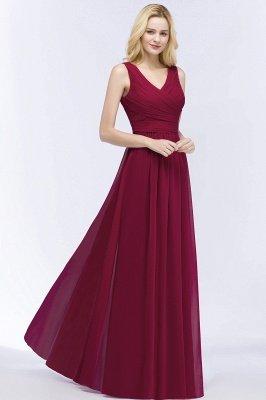A-line Floor Length V-neck Sleeveless Ruffled Chiffon Bridesmaid Dresses_6