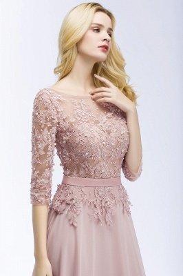 A-line  Appliques Jewel Half-Sleeves Floor-Length Bridesmaid Dresses with Sash_6
