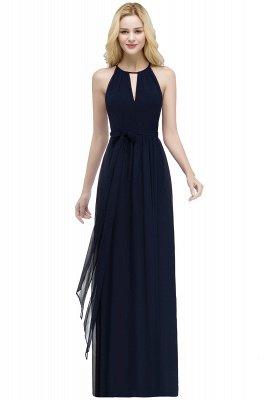 A-line Halter Floor Length Burgundy Bridesmaid Dress with Bow Sash_5