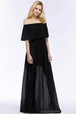 PANDORA | A-line Off-the-shoulder Long Black Chiffon Bridesmaid Dresses_5